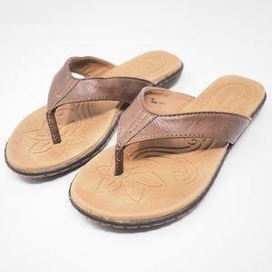 BOC Born Leather Flip Flops Brown Size 6